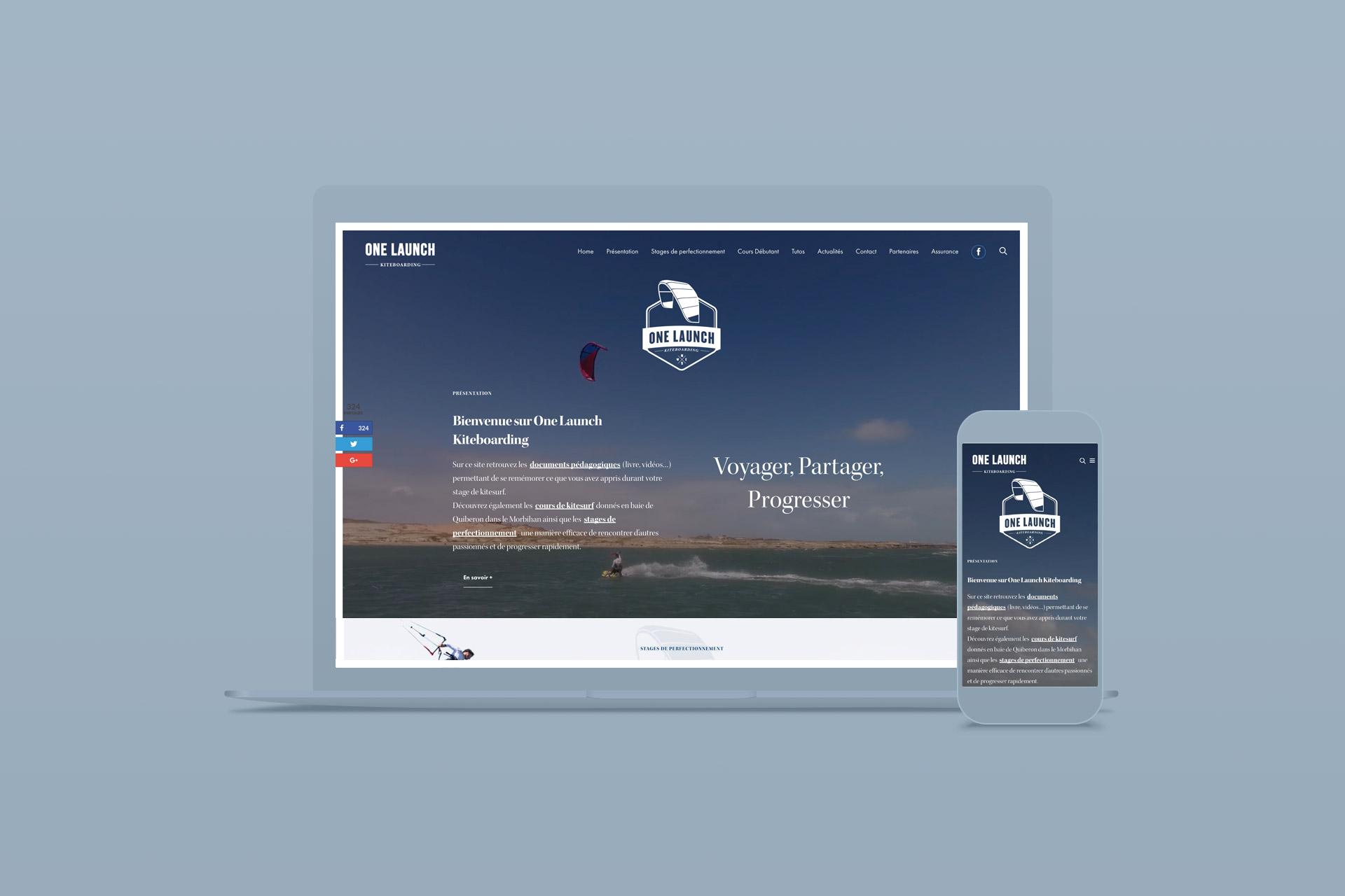 Site internet de OneLaunchKiteboarding, cours et tutos de Kitesurf
