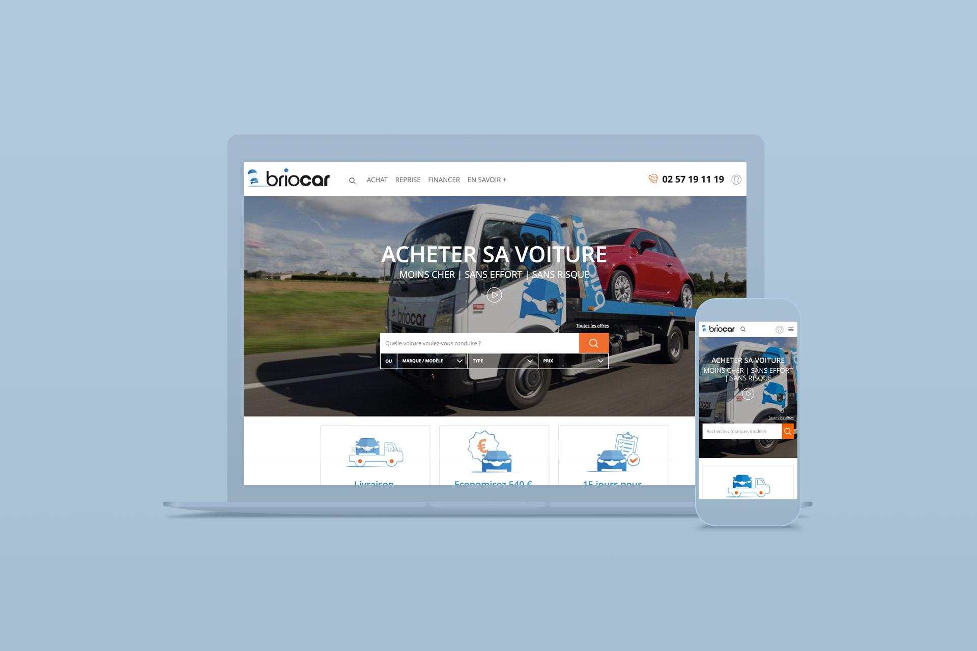 Webdesign du site internet Briocar réalisé par l'agence logo
