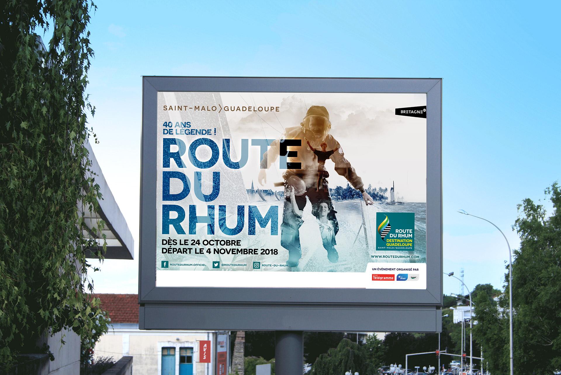 Affiche 4 par 3 de la Route du Rhum 2018 (2ème de l'appel d'offre) - agence logo