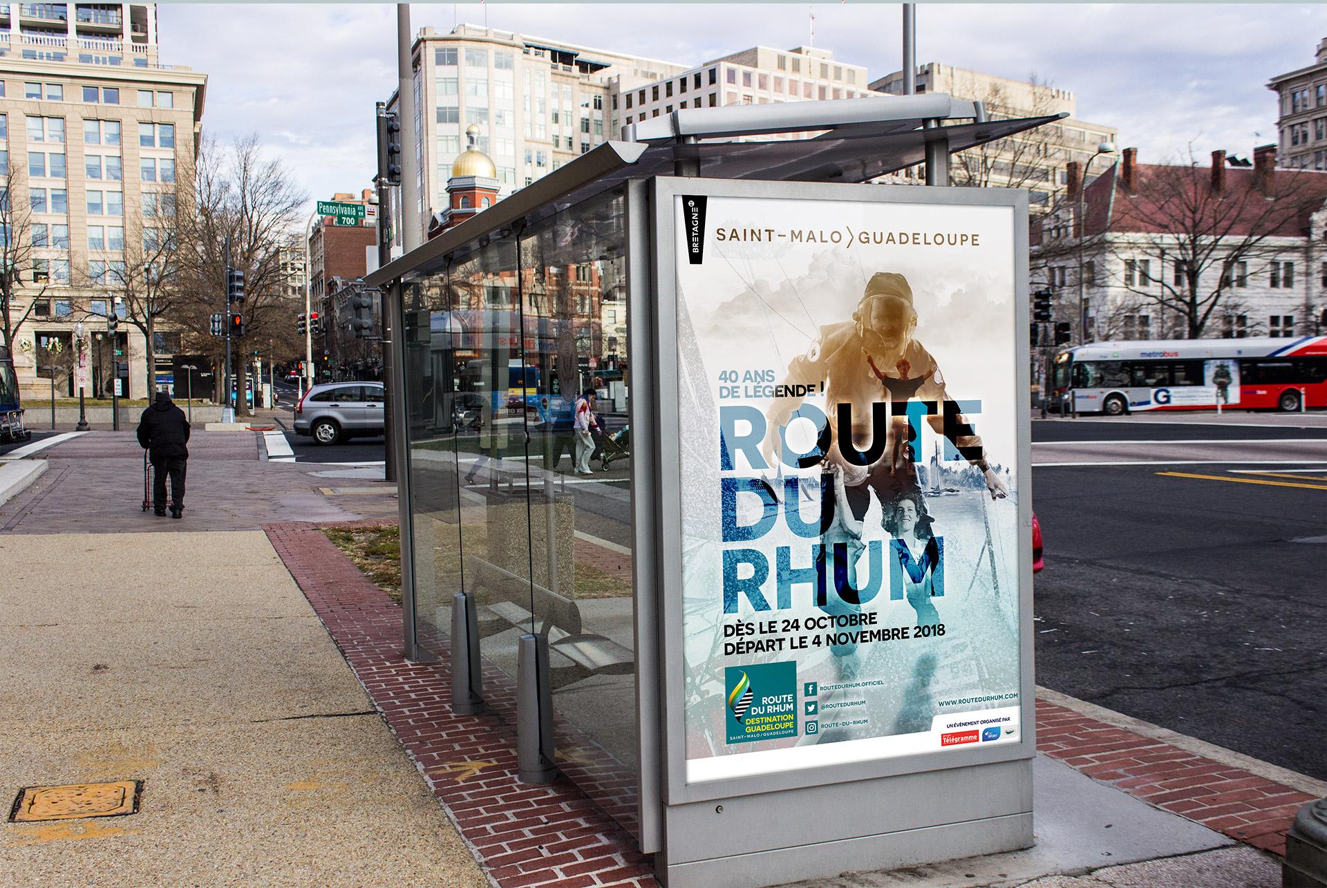 Affiche Abribus de la Route du Rhum 2018 (2ème de l'appel d'offre) - agence logo