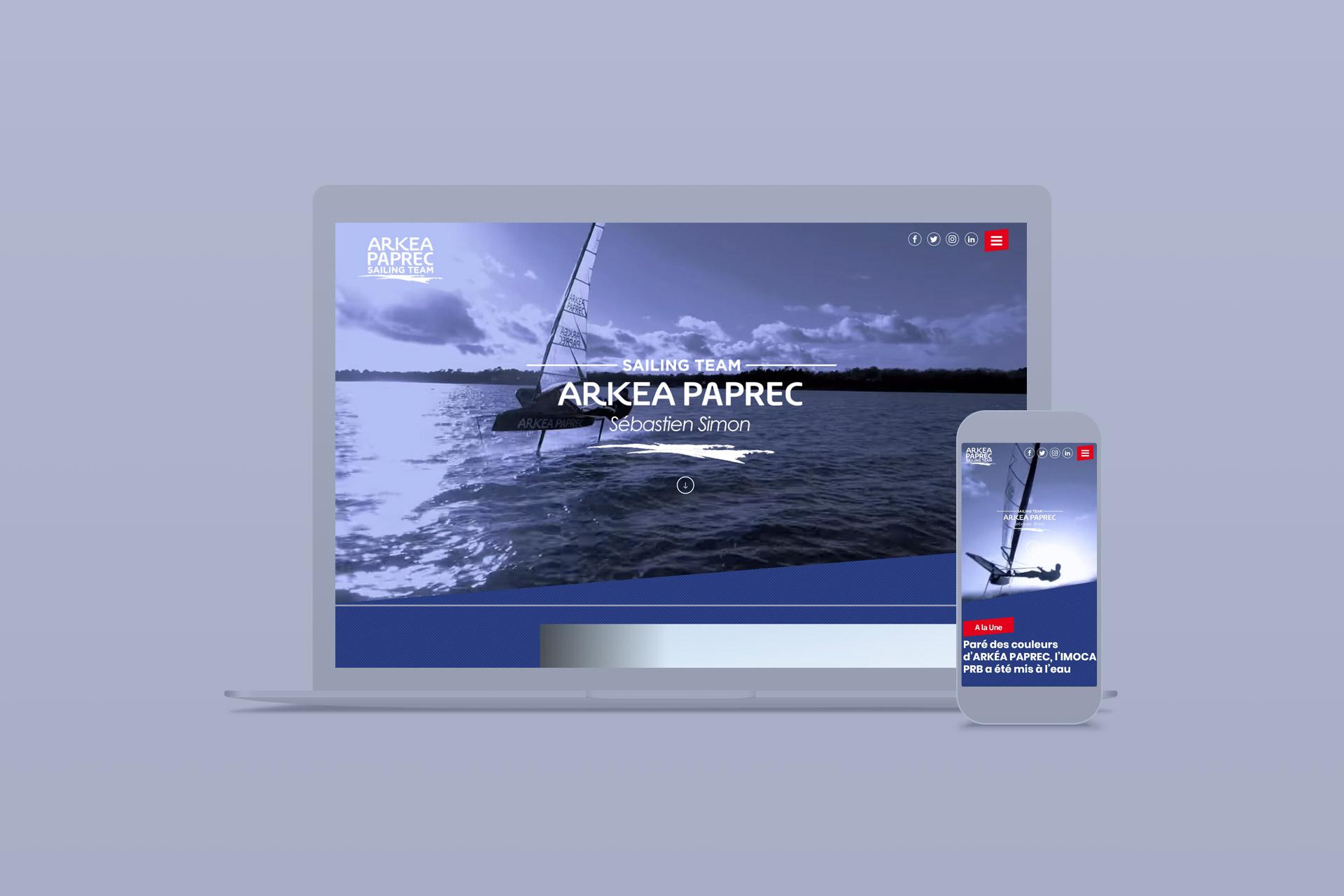 Site internet et Webdesign du Sailing Team Arkéa-Paprec Sébastien Simon par agence logo, agence web et digitale