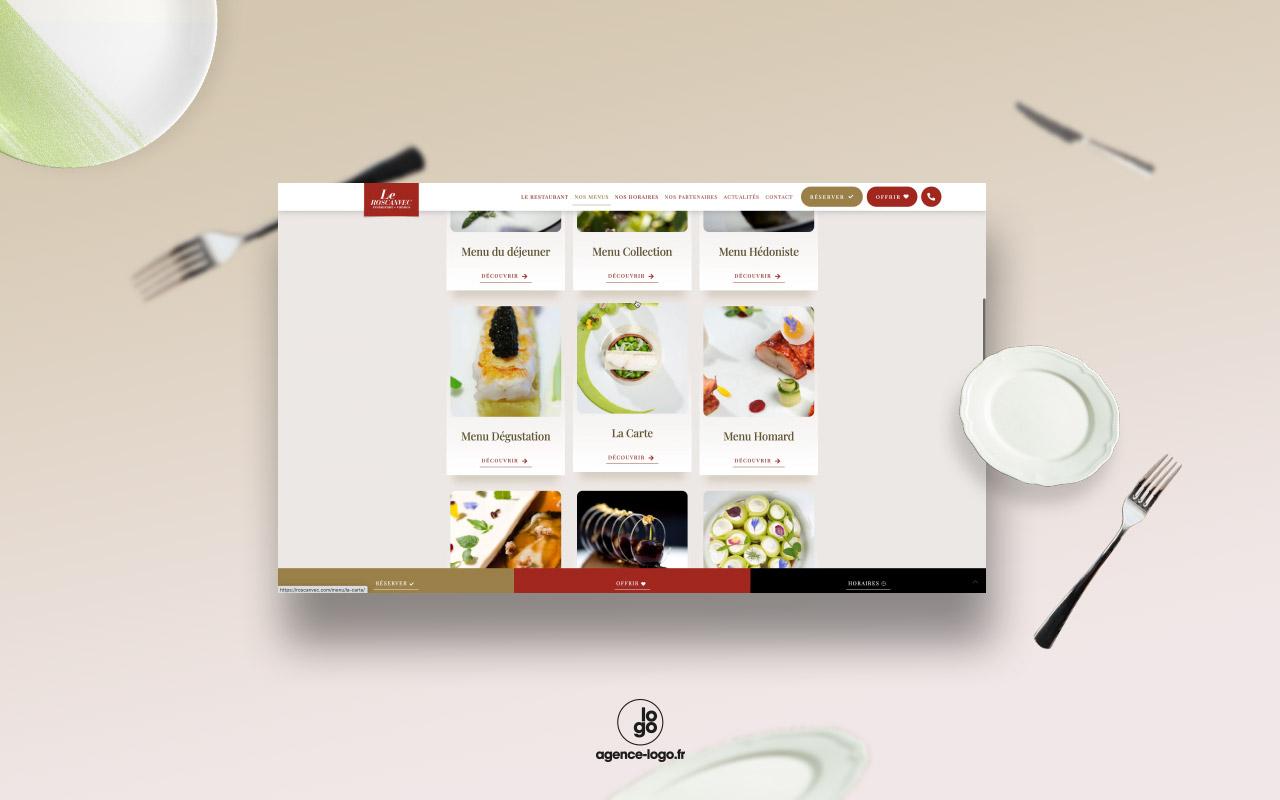 Création du site internet du restaurant gastronomique étoilé Le Roscanvec, Vannes
